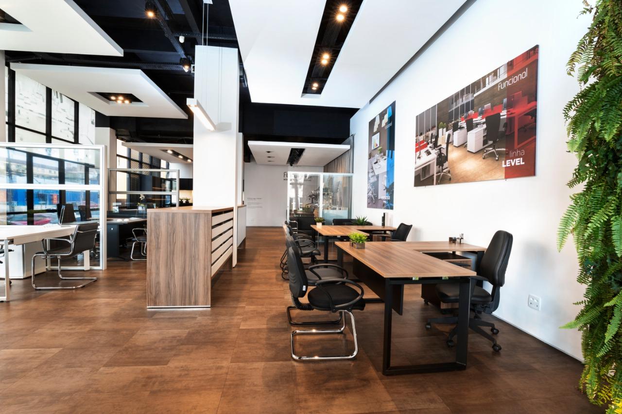 layout de loja de móveis de escritório